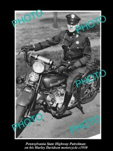 OLD-8x6-HISTORIC-PHOTO-OF-PENNSYLVANIA-POLICE-HARLEY-DAVIDSON-MOTORCYCLE-c1930