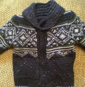 0-3-M-First-Size-Fleece-Lined-Knitted-Jacket-Baby-Boys-Winter-Design-Blue