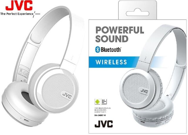 JVC HA-S40BT WHITE Wireless Foldable On-Ear Headphone with Bass Boost /Brand New