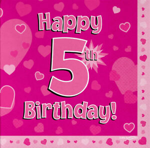 Details About 16 Pack Pink Girl 5 Today Happy 5th Birthday Hearts Luncheon Paper Napkin 3ply