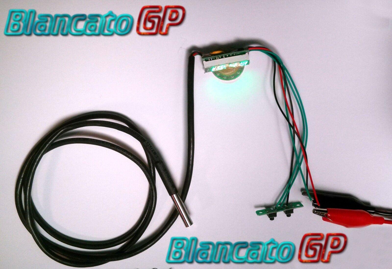 MICRO 3in1 VOLTMETRO TERMOMETRO OROLOGIO LED camper GIALLO DS18B20 auto moto camper LED kfz b45d36
