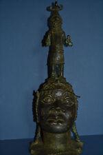 Large Mid 20th Century African Benin Tribal Bronze Bust/Warrior Figure,c 1950