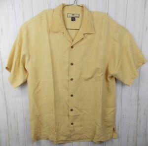 2490fd69b Tommy Bahama Mens M Hawaiian 100% Silk Yellow Short Sleeve Button ...