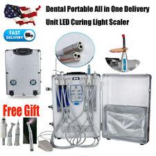 Portable Dental Delivery Unit Mobile Rolling Case Turbine Curing Light Scaler 4h