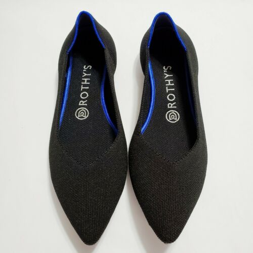 Rothys The Point Size 9 Pointed Toe Knit Flats Bla