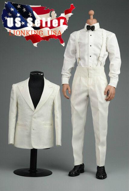 16 Vintage Gentleuomo Tuxedo Suit bianca For Brad Pitt 12 caliente giocattoli cifra ❶USA❶
