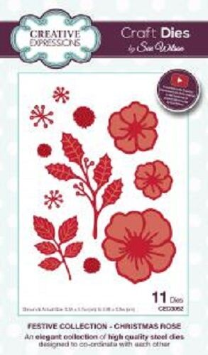 CREATIVE EXPRESSIONS Sue Wilson  FESTIVE COLLECTION Christmas Rose CED3052