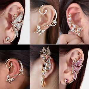 Image Is Loading Fashion Celebs Sweet Crystal Ear Cuffs Clip On