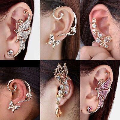 Fashion Celebs Sweet Crystal Ear Cuffs Clip On Cartilage Wrap Cuff Punk Earrings