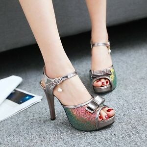 cbb2aa41d47c Image is loading Shiny-Womens-Rhinestones-Bowknot-Ankle-Strappy-Open-Toe-