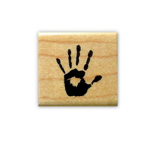 tiny HAND PRINT Mounted rubber stamp #15