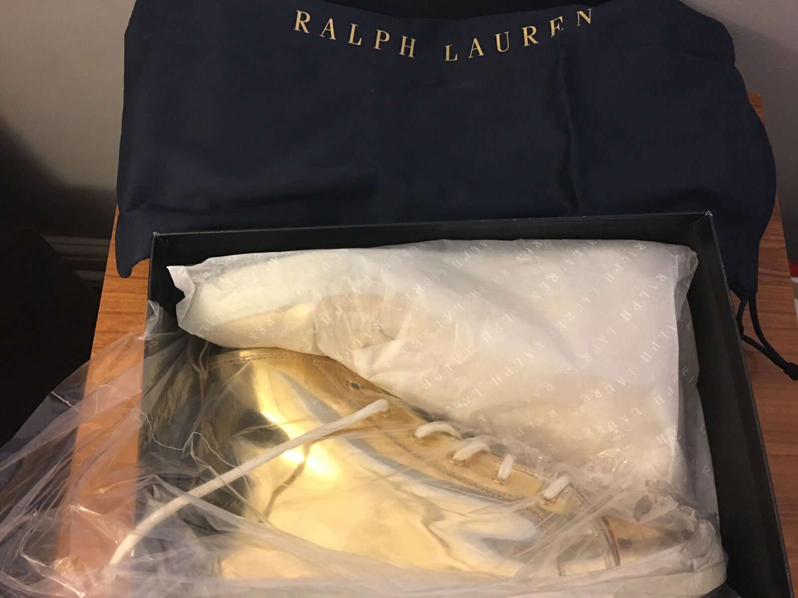 RALPH LAUREN SILVANA Gold  LEATHER UNISEX Turnschuhe UK 6,  480
