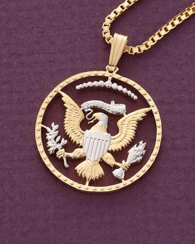 "# 319B 7//8/"" diameter Eagle Pendant /& Necklace Half Dollar Coin Hand cut"