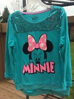 Girls Sequin Design Lightweight Disney Minnie Sweatshirt Size: Xl (14-16)