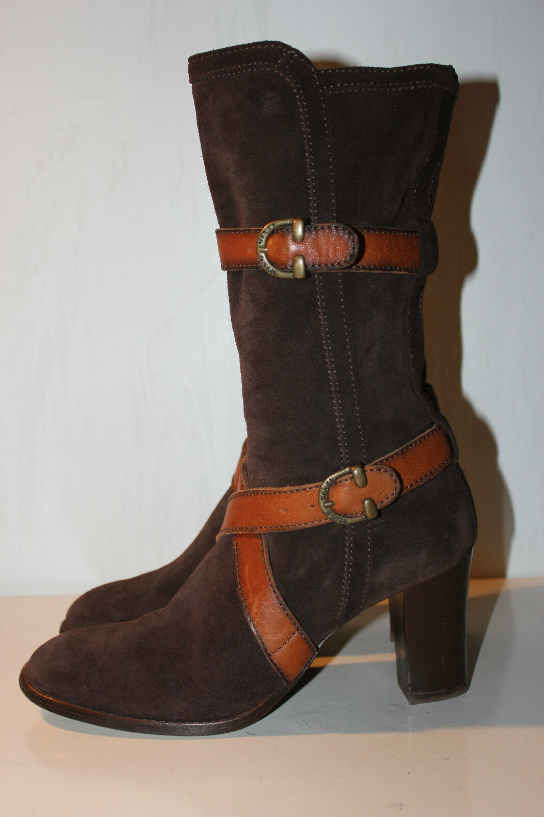 Miss Sixty Super Beautiful Brown Suede Ankle Boots, Size 37, Excellent Condition