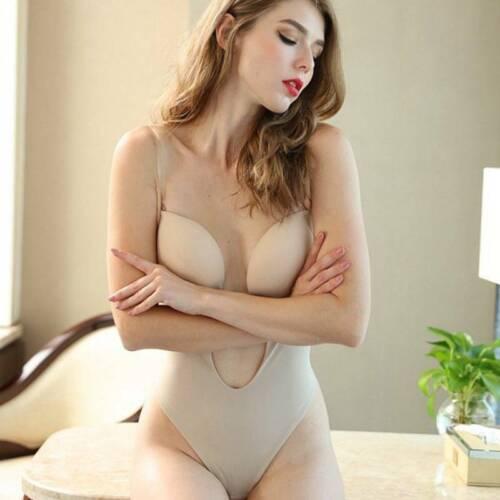 Lady Deep U-Plunge Bra Straps Backless Wedding Bodysuit Shapewear Body Shaper UK