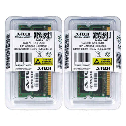 4GB KIT 2 x 2GB HP Compaq EliteBook 8440w 8460p 8460w 8540p 8540w Ram Memory