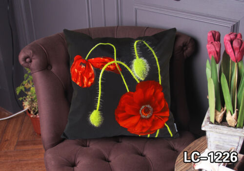 BLOOMING RED FLORAL DECORATIVE VELVETEEN PILLOW CUSHION COVER ART DOUBLE SIDES
