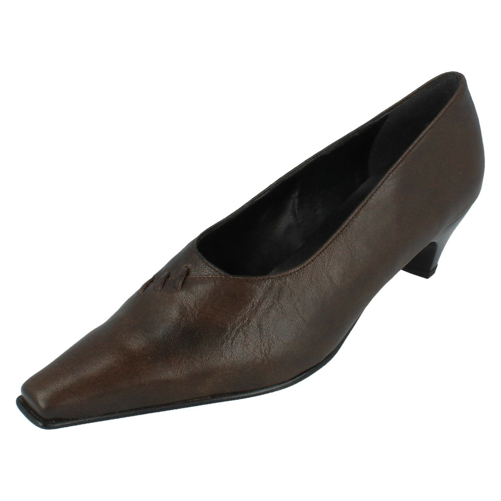 Ladies SIGARO Size 5 Brown Leather Court Shoes with Stitch Detailing by Piu Di