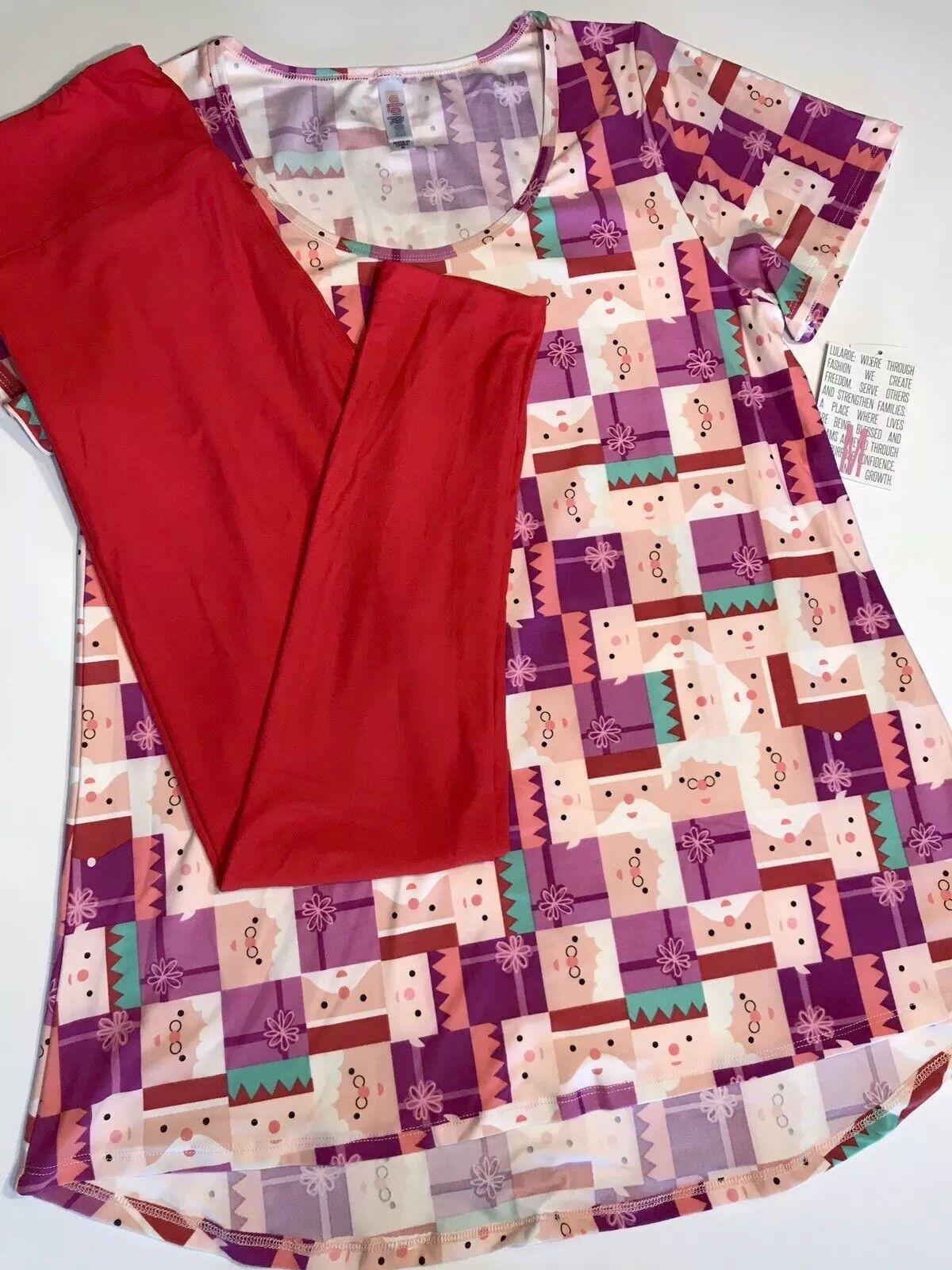 Lularoe Santa Christmas M Classic T Rosa lila & Solid rot OS Leggings Outfit