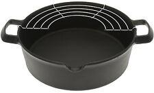Iwachu 410-185 Cast Iron Tempura and Deep-Fry Pan with Wire Rack, Large, Black â