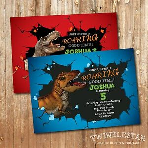 Image Is Loading Dinosaur Birthday Invitation Personalized Digital Printable File