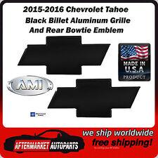 2015-2016 Chevrolet Tahoe Black Billet Bowtie Grille & Rear Emblem AMI 96129K