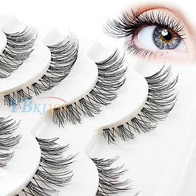 Beauty 5 Pairs Makeup Handmade Natural Fashion Long False Eyelashes Eye Lashes