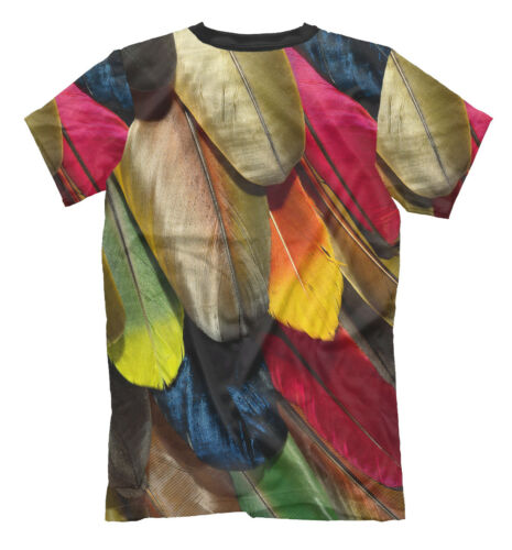 wild animal tee bright nature print cool style bird Colored feather t-shirt
