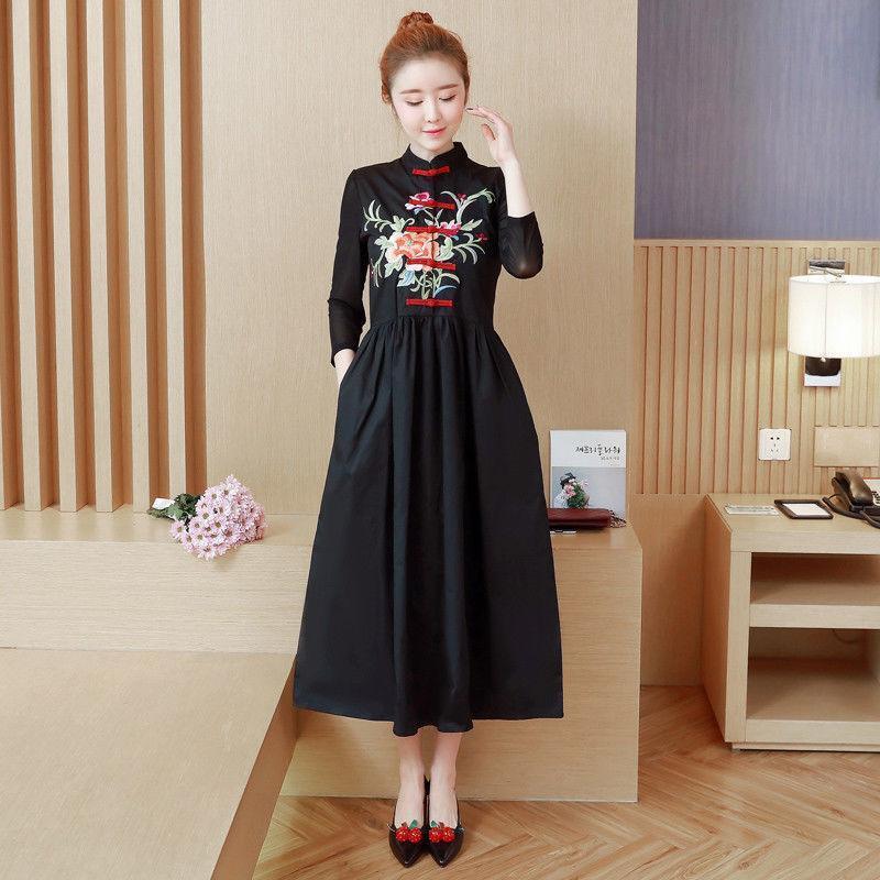 Women Ethnic Embroidery Cheongsam Chinese style Cotton Linen Dress  New YH 2019