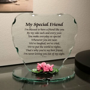 Glass Plaque Special Gift For Friend Beautiful Poem Porcelain