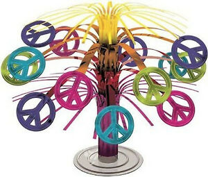TYE-DYED-60-039-s-2-X-MINI-PEACE-SIGN-CENTREPIECES-7-5-034-19cms-TWO-CENTREPIECES