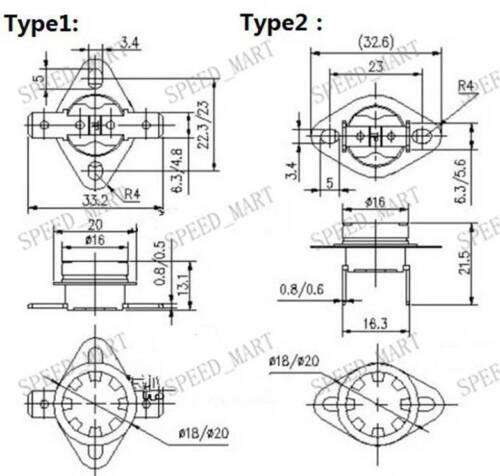 1 Pcs KSD301 Temperature Switch Control Sensor Thermal Thermostat 65° clubfoot