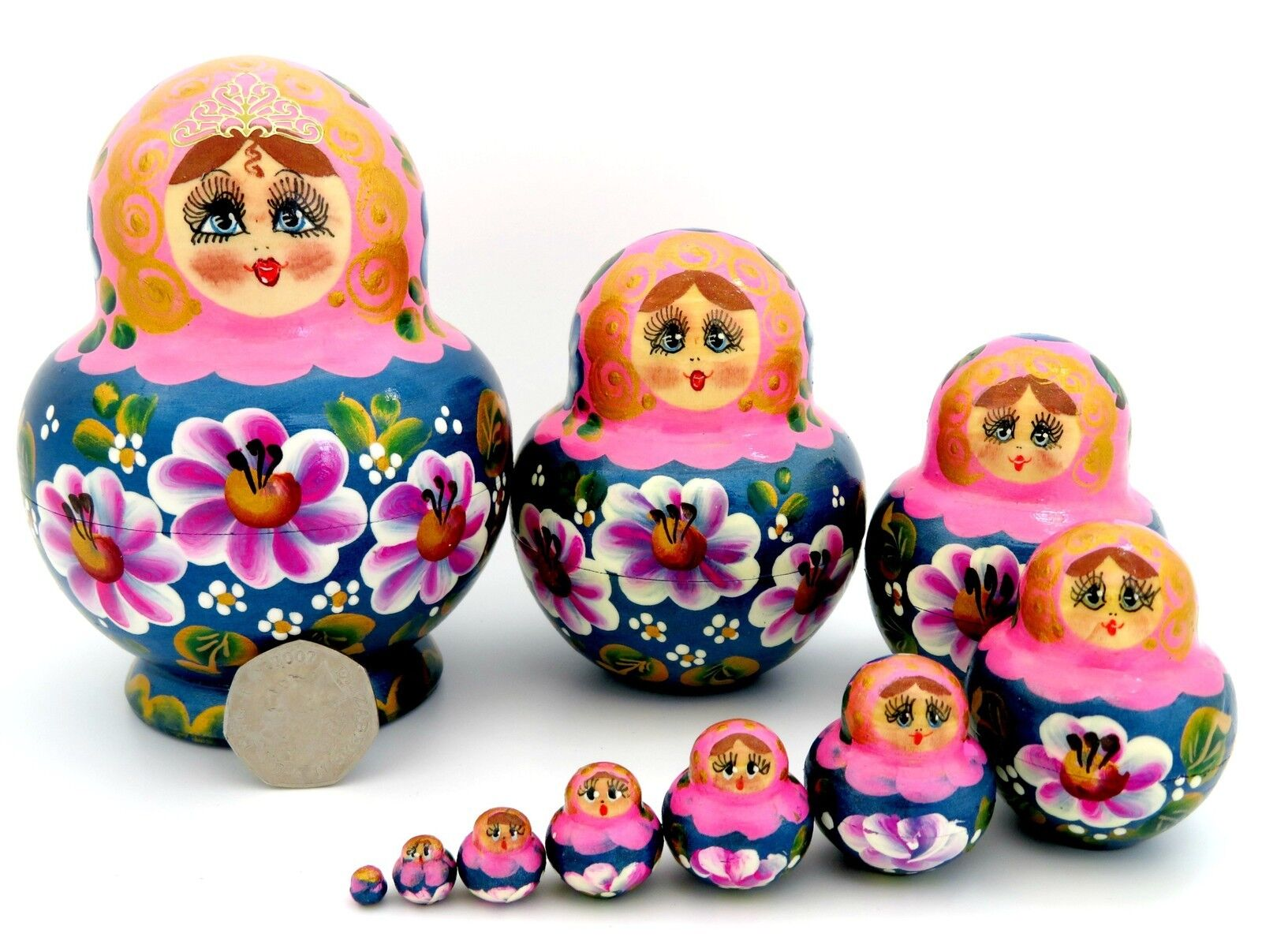 Russische Matrjoschkapuppen Matryoshka Babuschka ORIGINAL 10 Rosa blau Simakova