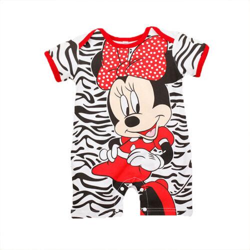 Newborn Baby Girls Boys Mickey Mouse Short Sleeve Romper Bodysuit Clothes 3-24 M