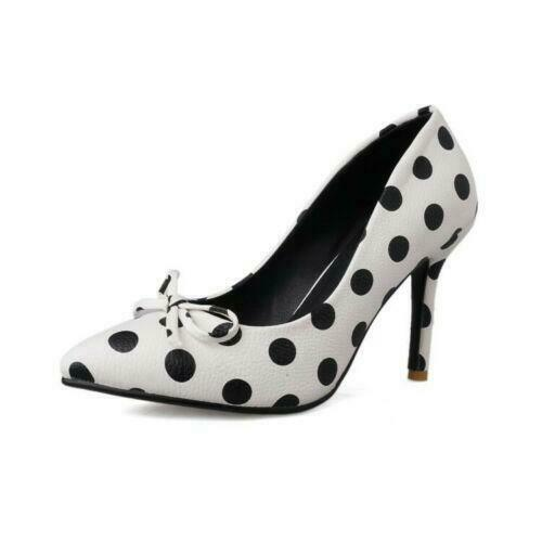 Womens Black White Polka Dot Pumps Pointy Toe Bowtie Slip on Work Casual Shoes
