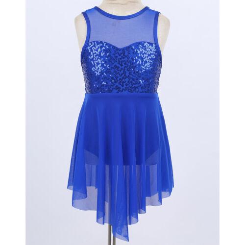Girls Kids Lyrical Dance Dress Ballet Leotards Sequins Dancewear Skate Costume