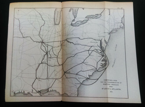 1876 Lines for Transportation Western Produce St. Louis to Atlanta Map