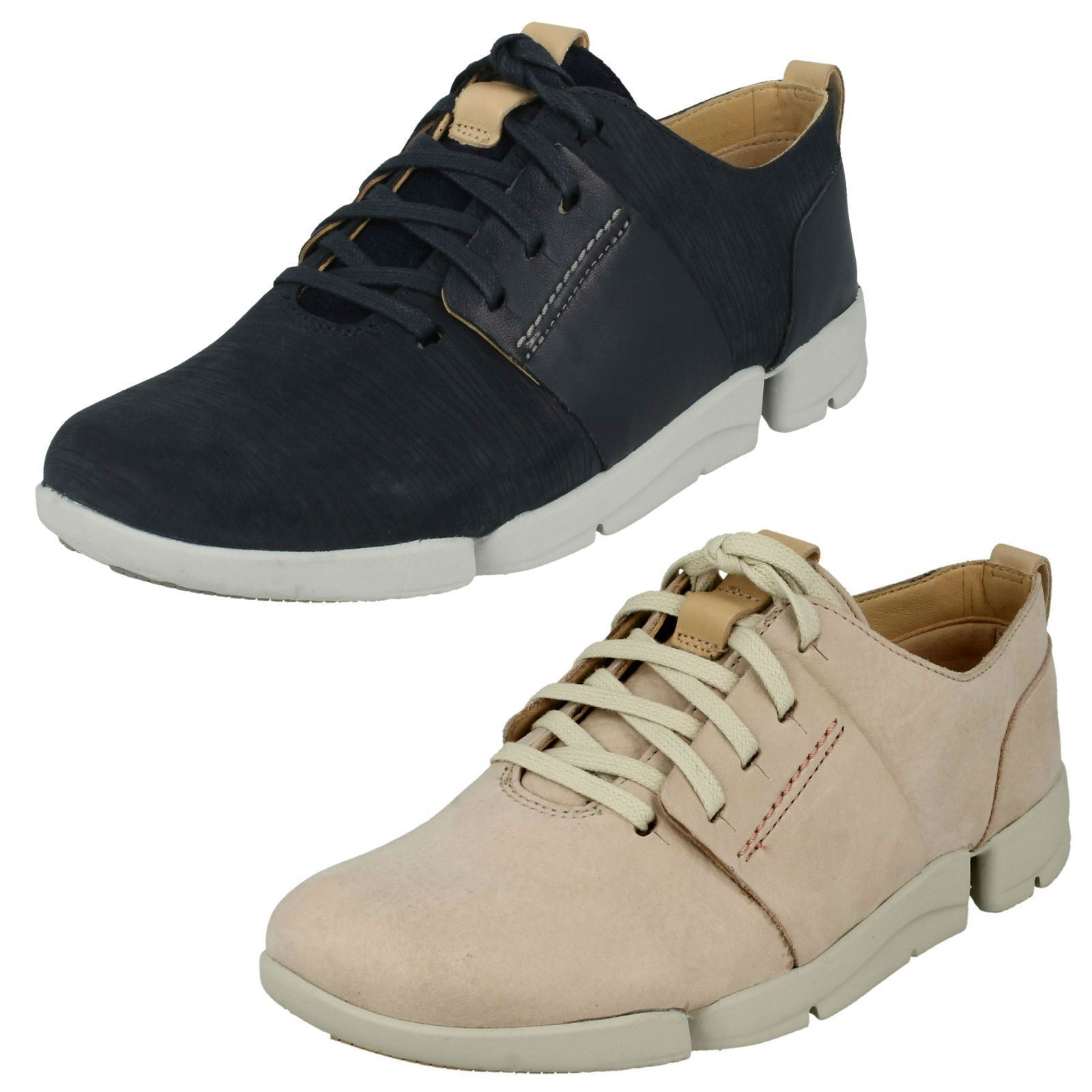 Ladies Clarks Tri Caitlin Navy Or Nude Pink Leather Casual Lace Ups