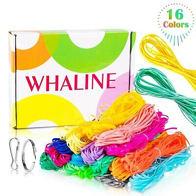 16 Colors Whaline 525 Feet Gimp Bracelet Scoubidou String DIY Craft Plastic Lacing Cord for Christmas Jewelry Making with Snap Clip Hooks Keychain Ring Clips