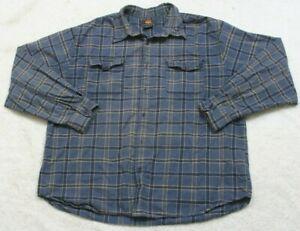 Route-66-2-Pocket-Dress-Shirt-Large-Cotton-Long-Sleeve-Blue-White-amp-Beige-Mens