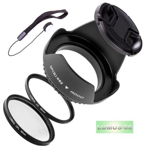 Set 62mm oscurecidos UV polarizador objetivamente tapa se adapta a Sigma 18-250 105