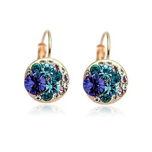 18K-Rose-Gold-Plated-Made-With-Swarovski-Crystal-Round-Amethyst-Hoop-Earrings