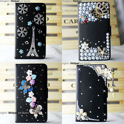 New luxury handmade leather Wallet case 3D bling cover For htc one M7 mini max x