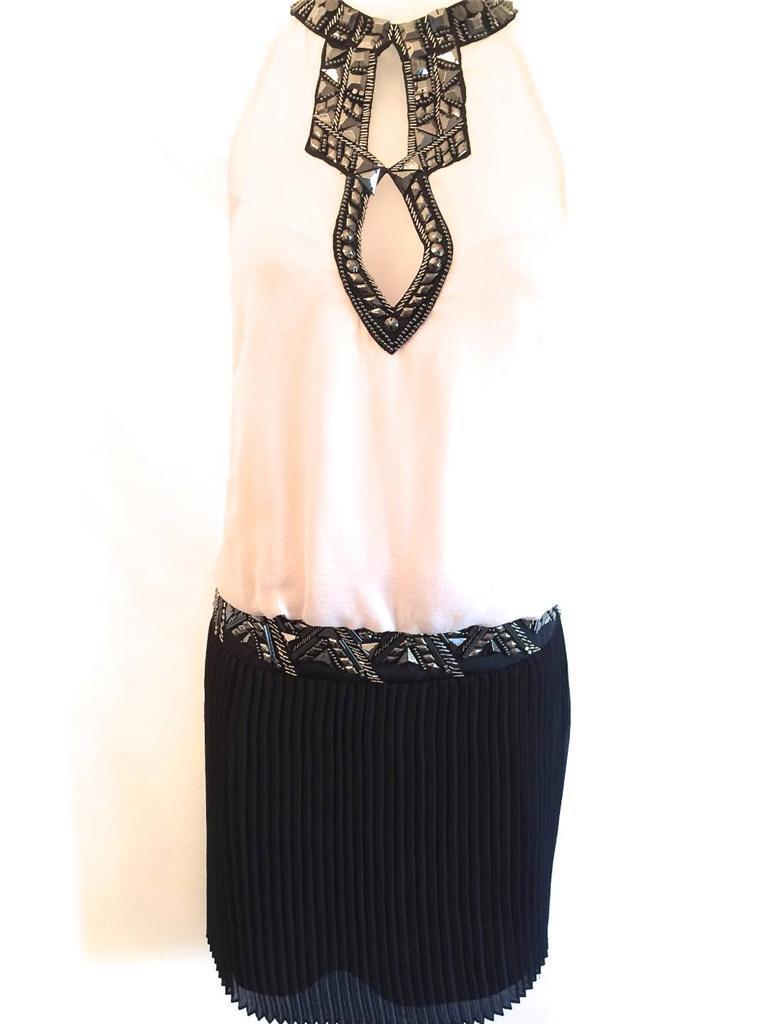 Karen Millen Con Perline 20 S Deco Flapper Gatsby Abito Seta Colore Crema Nero Tg