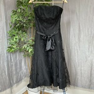 BNWOT-MONSOON-Black-Strapless-Evening-SIZE-10-Floral-Sequin-Mesh-Lined-Dress