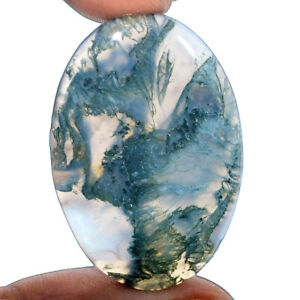 Cts-57-30-Natural-Landscape-Moss-Agate-Oval-Cabochon-Loose-Gemstone