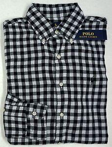 NWT-125-Polo-Ralph-Lauren-Shirt-Mens-M-L-XL-Black-Check-Button-Down-Cotton-NEW