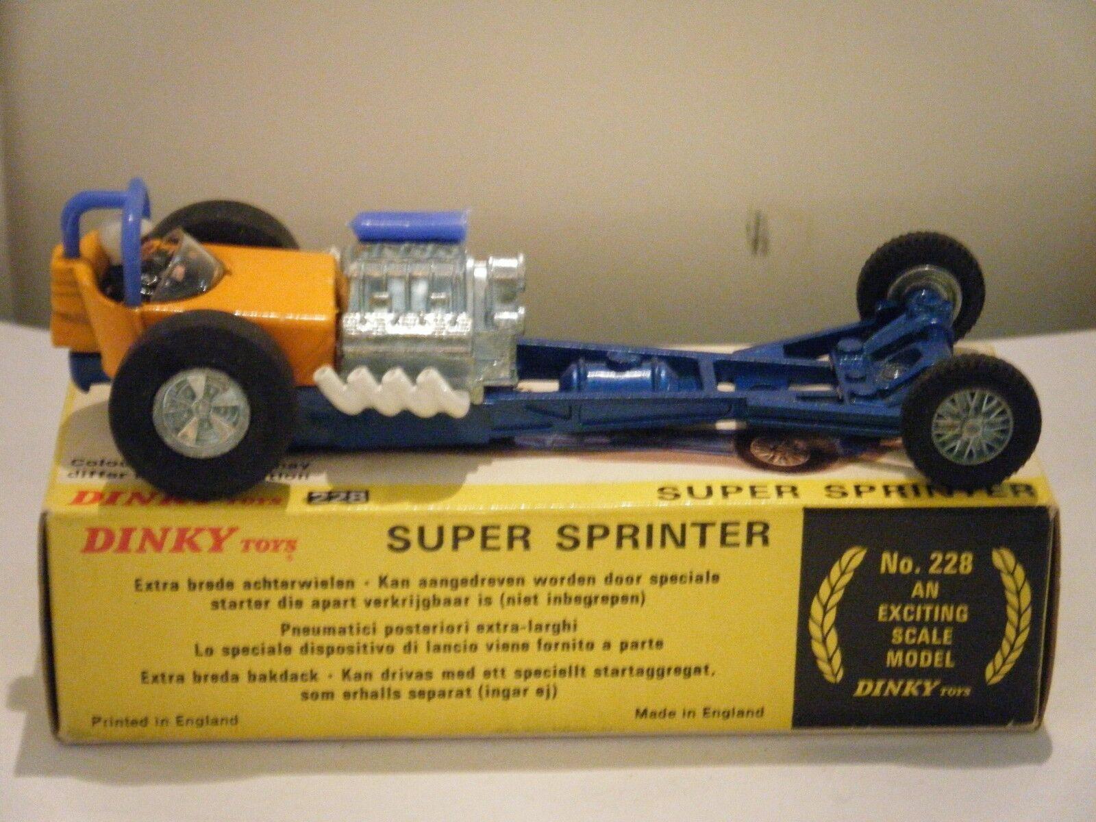 Dinky Dinky Dinky No  228  Super Sprinter Dragster  - bluee orange (Original 1970's Boxed) 1ef41b