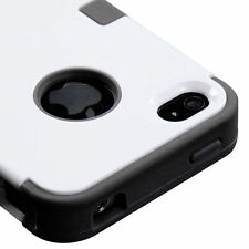 for iPhone 4 4S - White & Black High Impact Armor Hard & Soft Rubber Case Cover